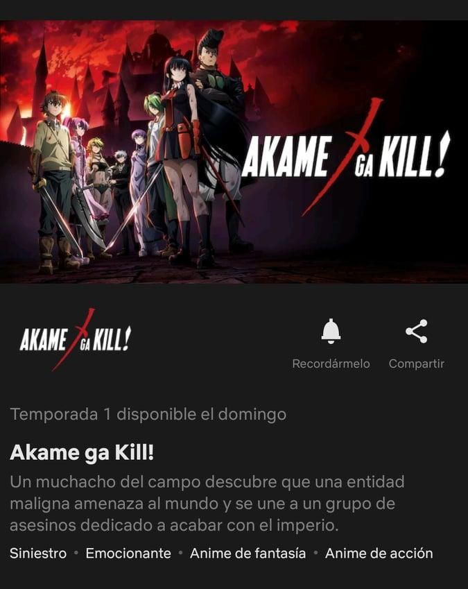 Akame Ga Kill llega a Netflix este fin de semana