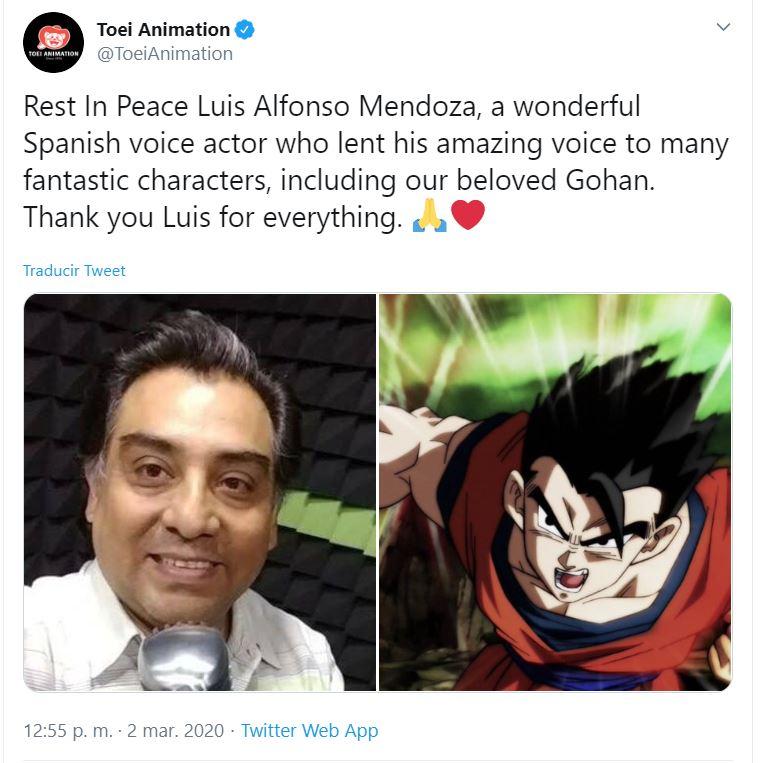 Toei Animation le da el último adiós a Luis Alfonso Mendoza, la voz de Gohan en Dragon Ball