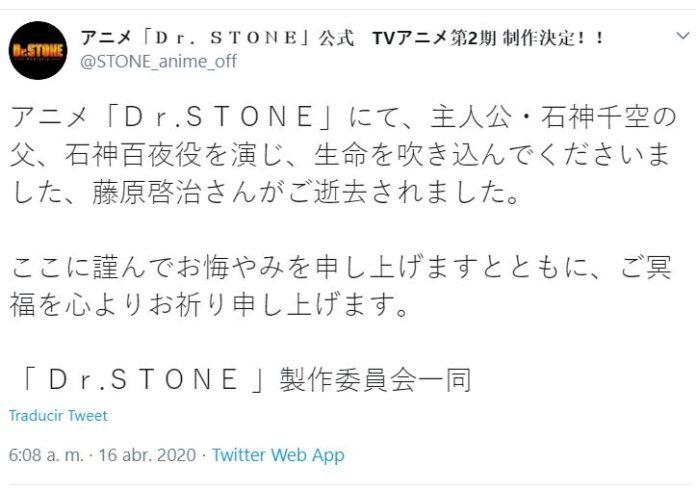 Dr. Stone emite un comunicado sobre el fallecimiento de Keiji Fujiwara