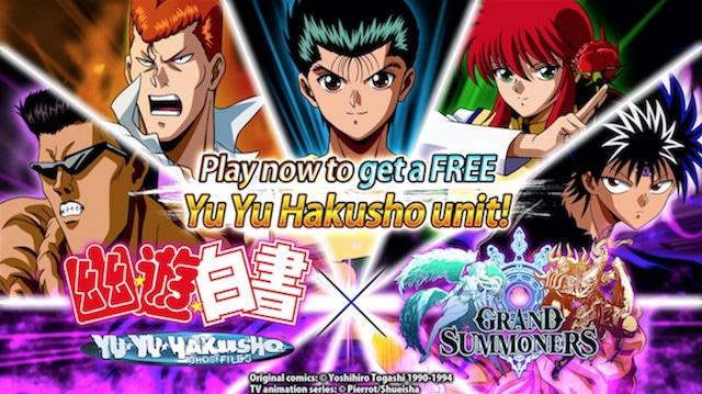 Grand Summoners anuncia una colaboración con Yu Yu Hakusho