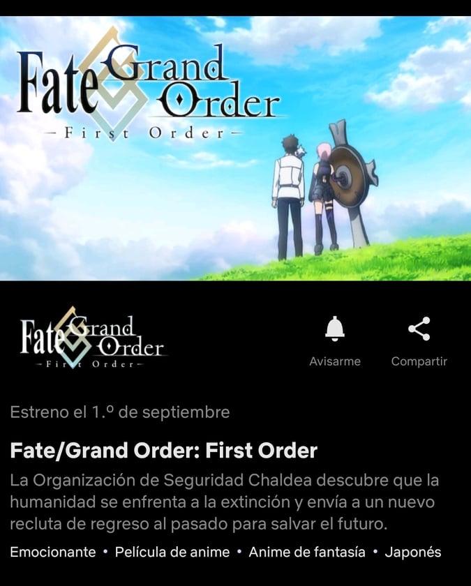 Fate/Grand Order: First Order se estrenará en Netflix