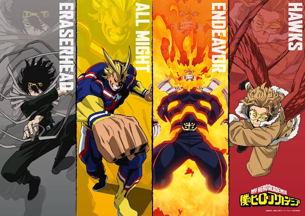 Boku no Hero Academia revela un visual protagonizado por All Might, Endeavour, Hawks y Eraserhead