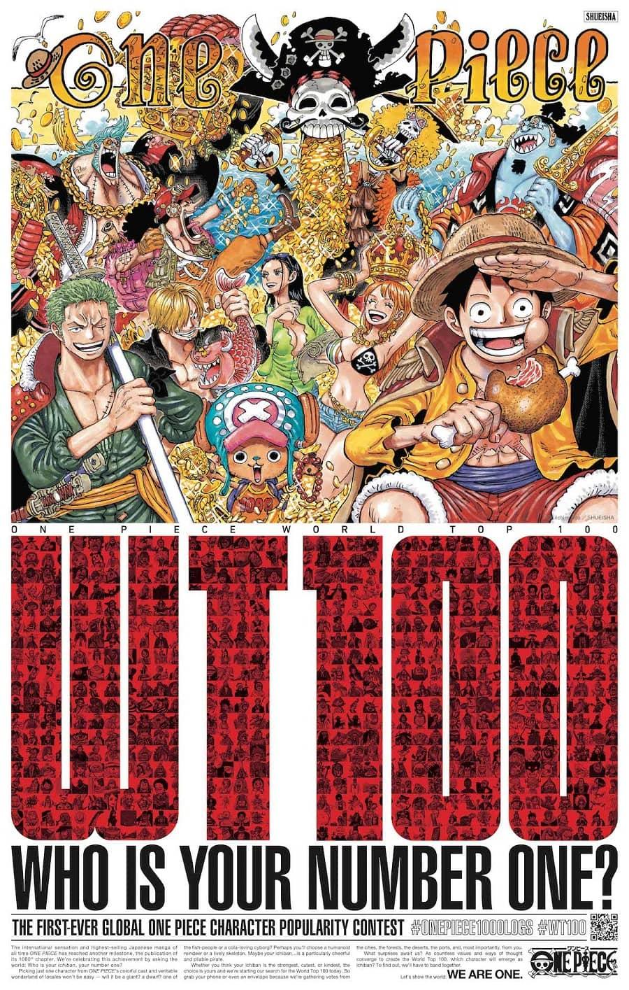 Banner donde se anuncia la votación para definir el top 100 de popularidad en one piece