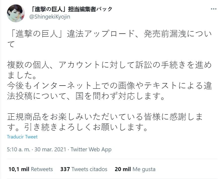 Acciones legales contra aquellos que filtren partes del capítulo final de Shingeki no Kyojin